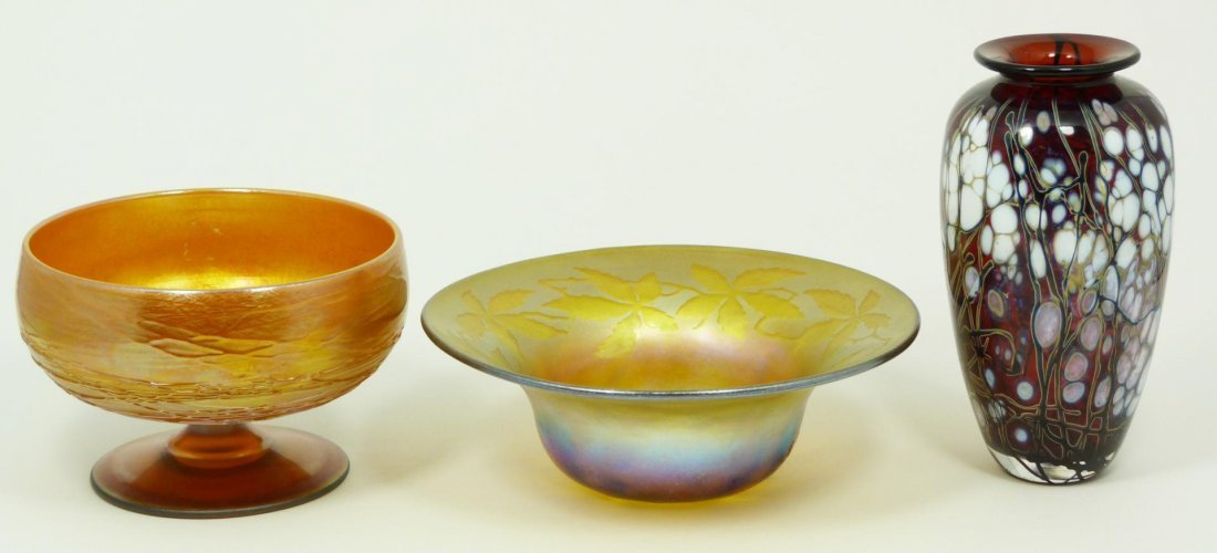 4: 3 AMERICAN ART GLASS PIECES VASE COMPOTE & BOWL