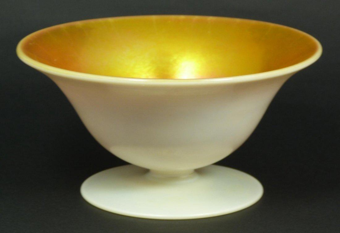 8: STEUBEN GOLD AURENE ON CALCITE FOOTED BOWL