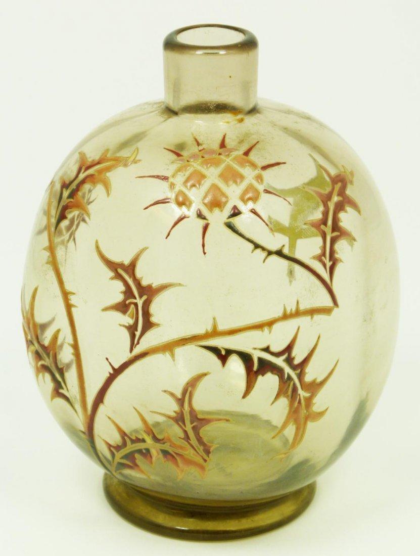 9: EMILE GALLE ENAMELED CHARDONS ART GLASS VASE