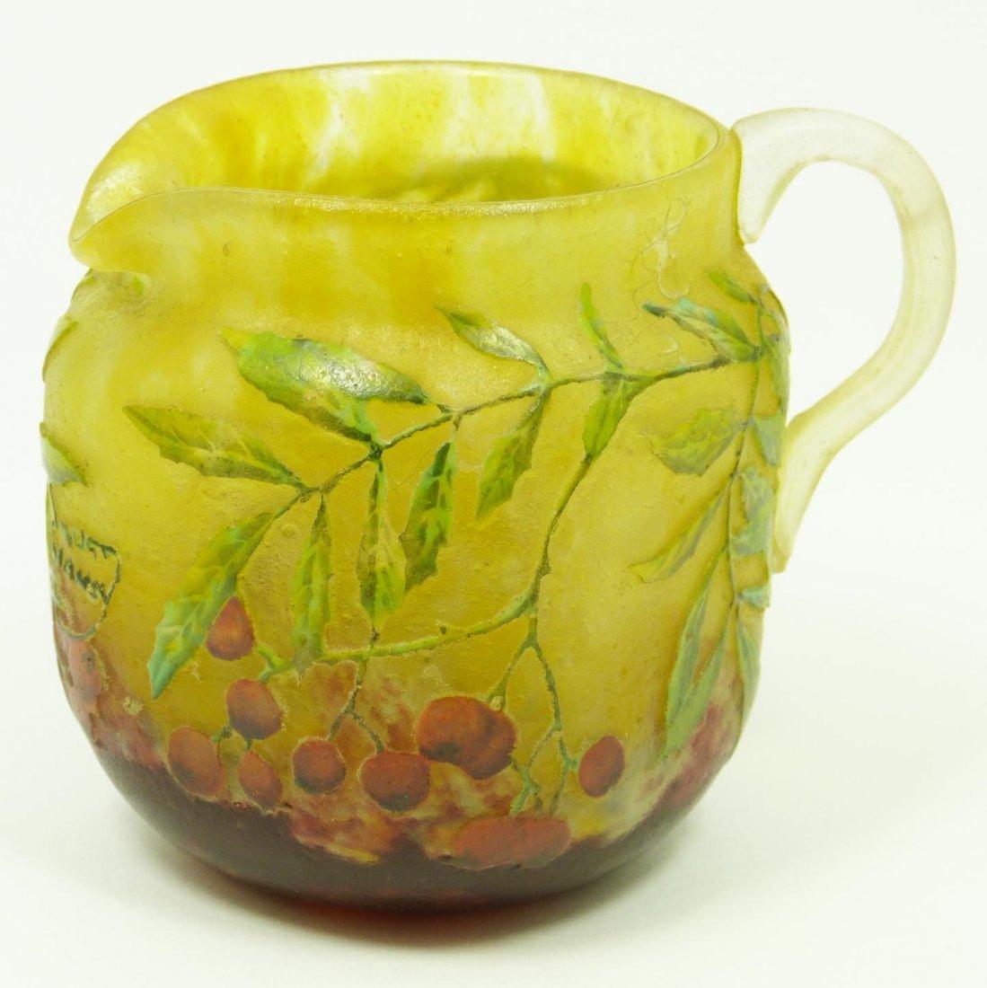 10: DAUM NANCY CAMEO ART GLASS BERRY PITCHER