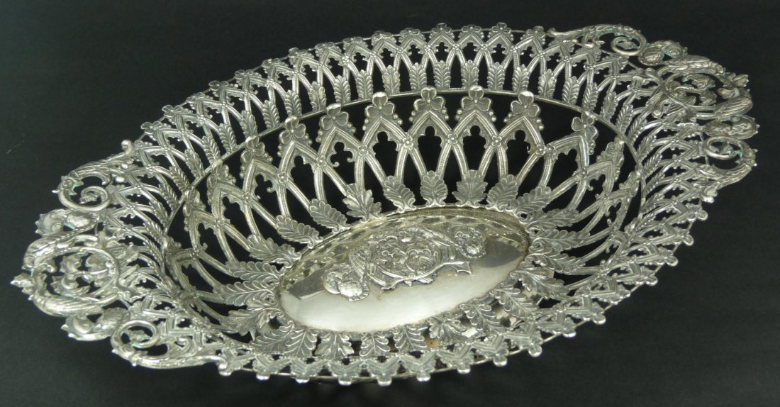 20: ANTIQUE GERMAN SILVER RETICULATED BOWL