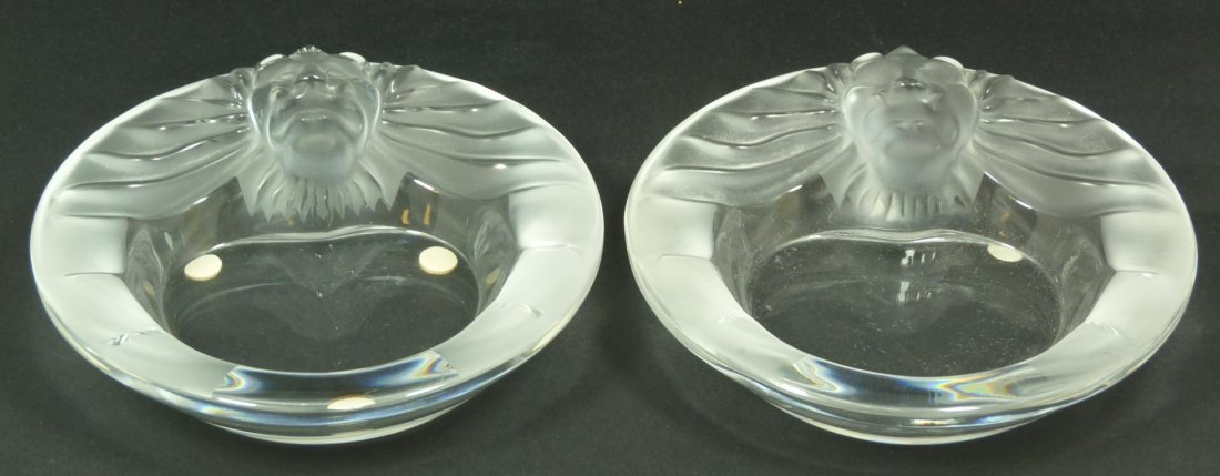 15: PAIR OF LALIQUE FRANCE CRYSTAL LION ASHTRAYS