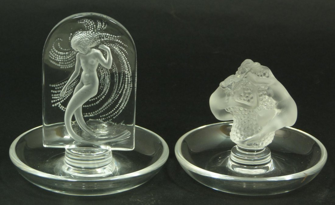 16: 2 LALIQUE FRANCE CRYSTAL FIGURAL NUDE PIN TRAYS