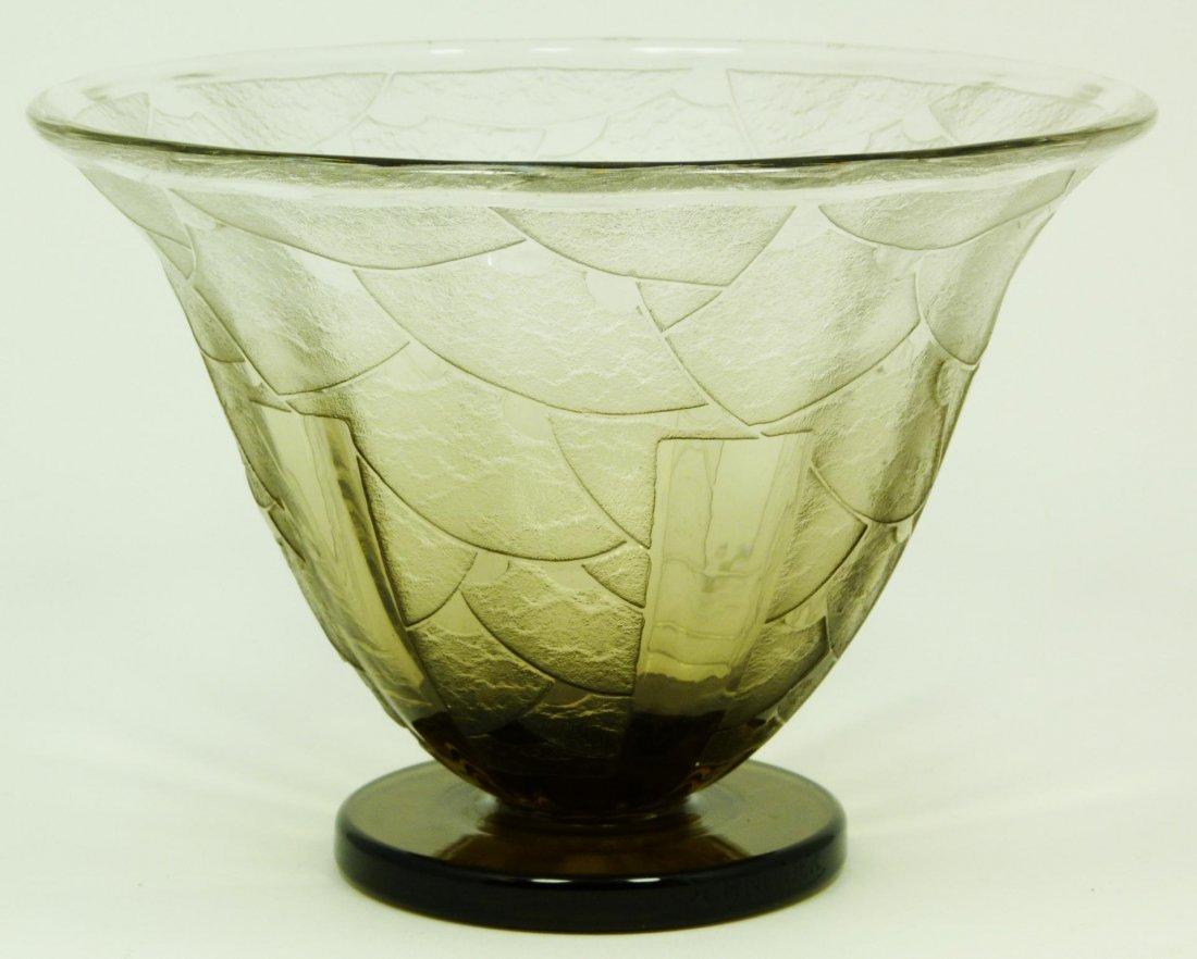 19: SCHNEIDER DECO STYLE SIGNED ART GLASS BOWL