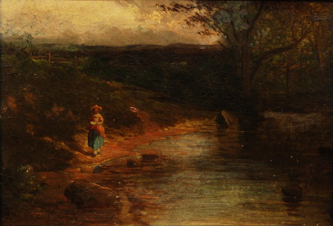 90: 19th C OIL PAINTING ON BOARD SIGNED H. YOUNG