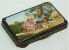 152 ANTIQUE AUSTRIAN STERLING ENAMELED COMPACT