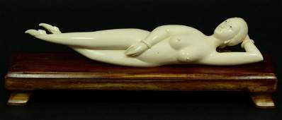 147: CHINESE HAND CARVED IVORY DOCTORS LADY FIGURE