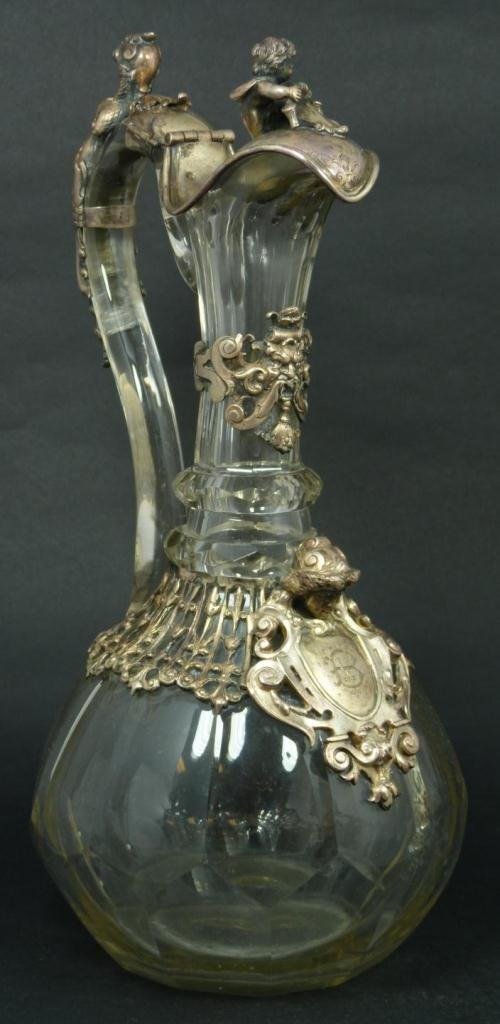 1: AUSTRIAN HUNGARIAN SILVER CUT GLASS CLARET PITCHER
