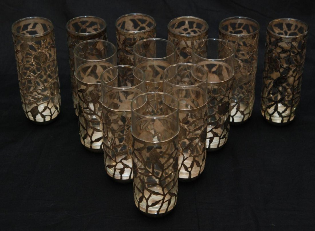2: 12 GLASSES HAVING FLORAL MEXICAN SILVER INSERTS