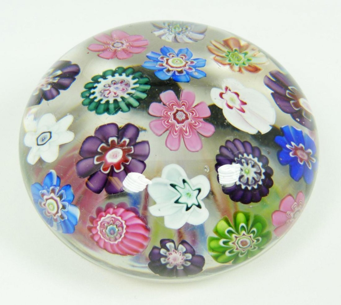 7: CLICHY SPACED MILLEFIORI ART GLASS PAPERWEIGHT