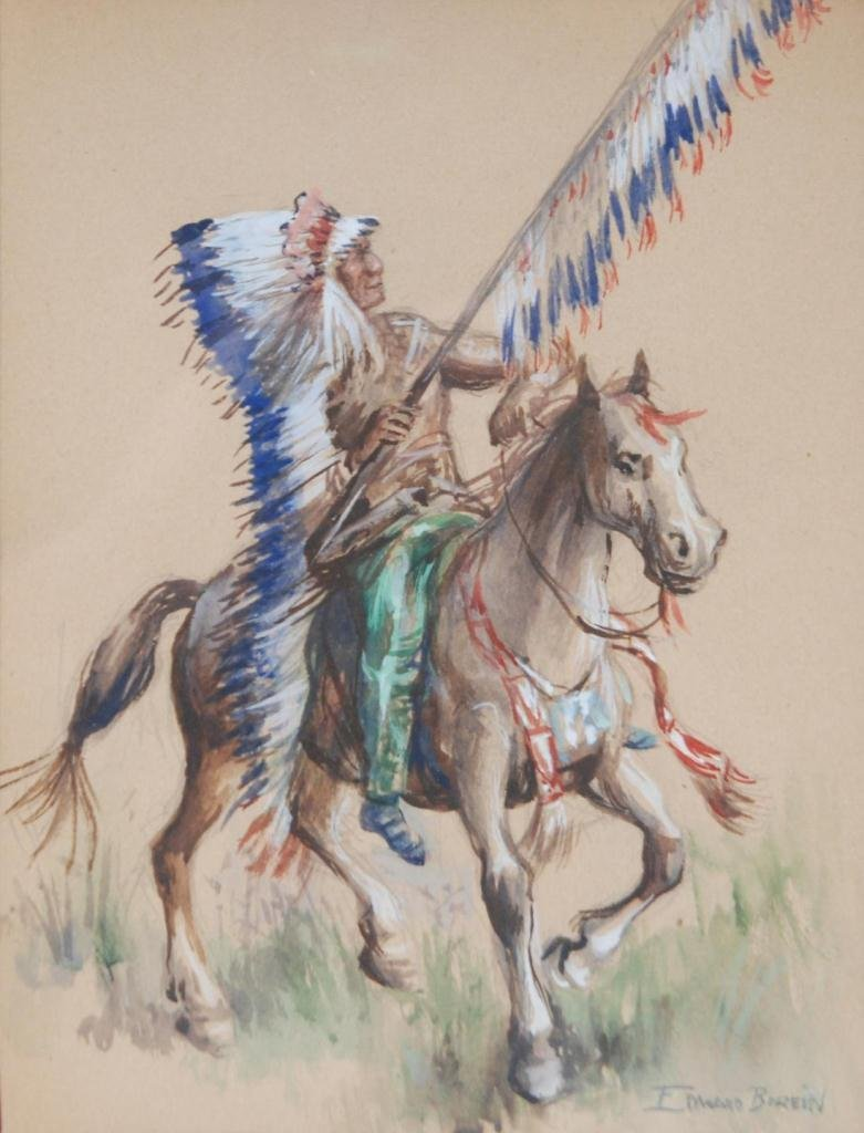 12: EDWARD BOREIN WATERCOLOR ON PAPER OF INDIAN CHIEF