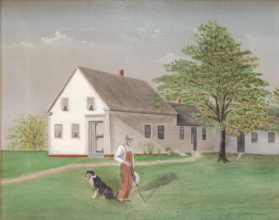 13: GRANT WOOD OIL PAINTING ON CANVAS OF IOWA SCENE