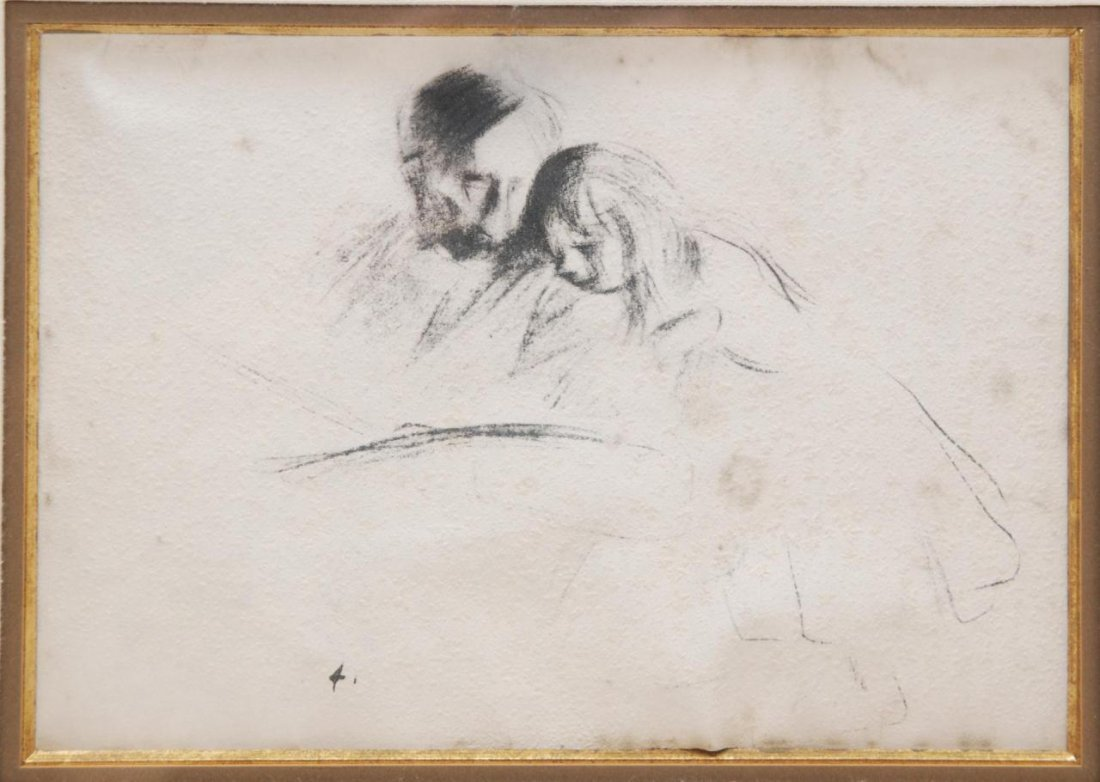 19: JEAN LOUIS FORAIN DRAWING DEPICTING MAN & CHILD