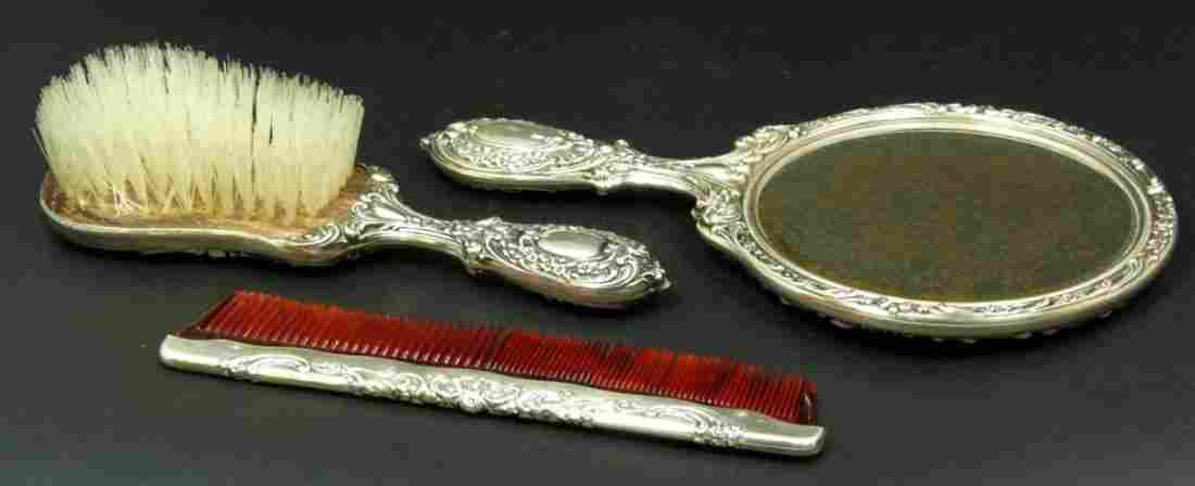 208: 3pc GORHAM REPOUSSE STERLING SILVER VANITY SET