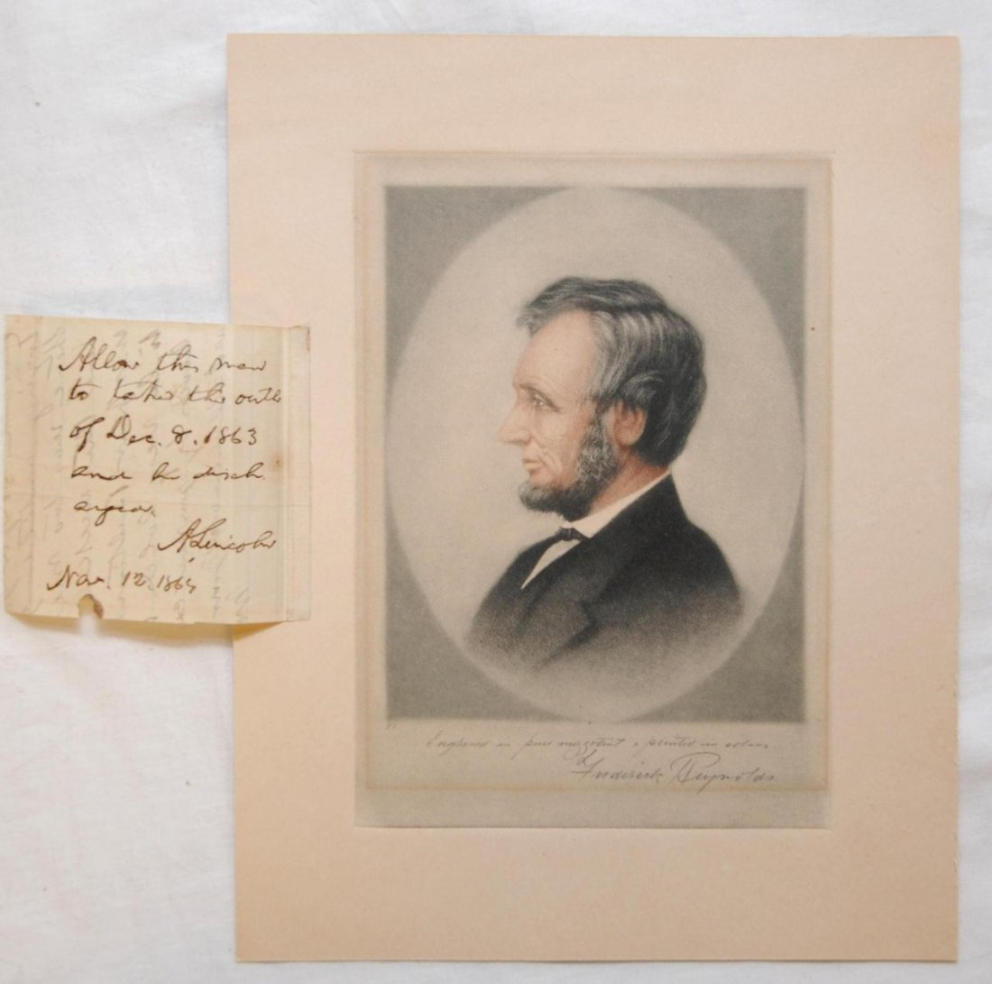 96: ABRAHAM LINCOLN HAND WRITTEN LETTER WITH ENGRAVING