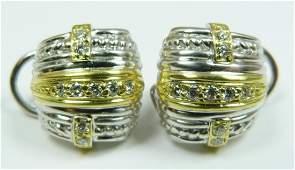 254 Pr OF JUDITH RIPKA 18K SILVER  DIAMOND EARRINGS