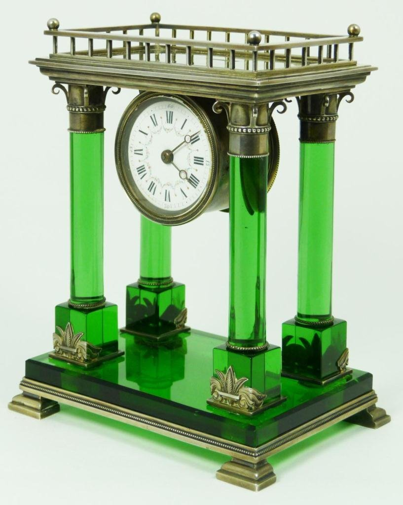 23: FRENCH STERLING & EMERALD CRYSTAL MANTLE CLOCK