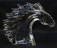 114: DAUM FRENCH CRYSTAL HORSE HEAD FIGURAL SCULPTURE