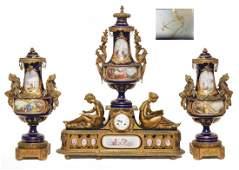 97: 19th C 3pc SEVRES BRONZE GARNITURE CLOCK SET