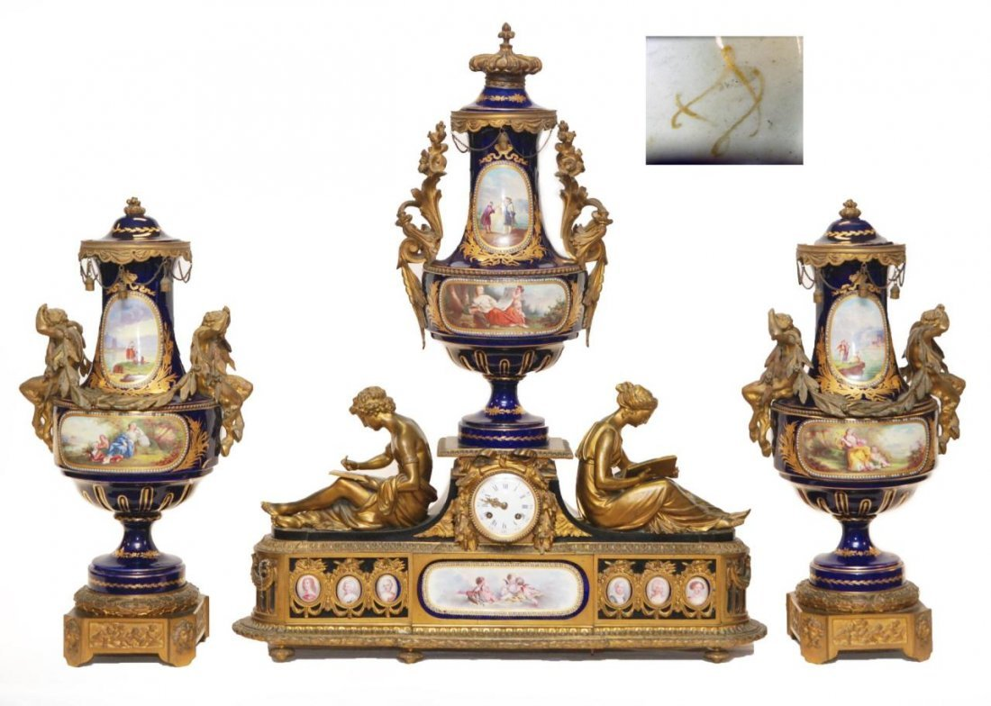 97: 19th C 3pc SEVRES BRONZE GARNITURE CLOCK SET