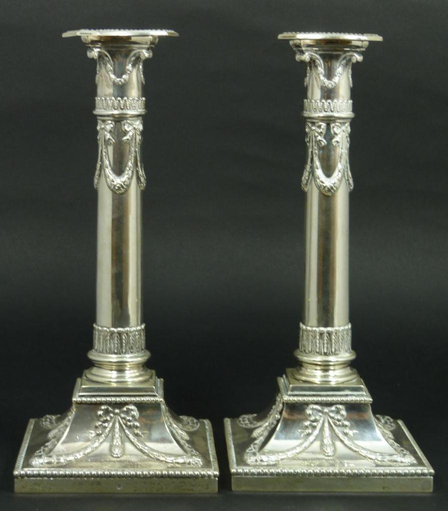 24: A PAIR OF DUTCH STERLING SILVER CANDLESTICKS