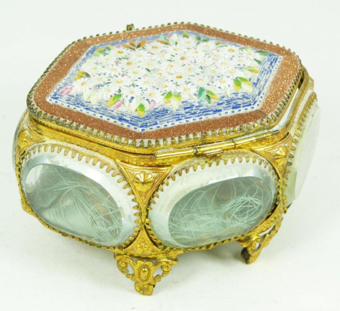401: ANTIQUE ITALIAN MICROMOSAIC & CRYSTAL JEWEL BOX