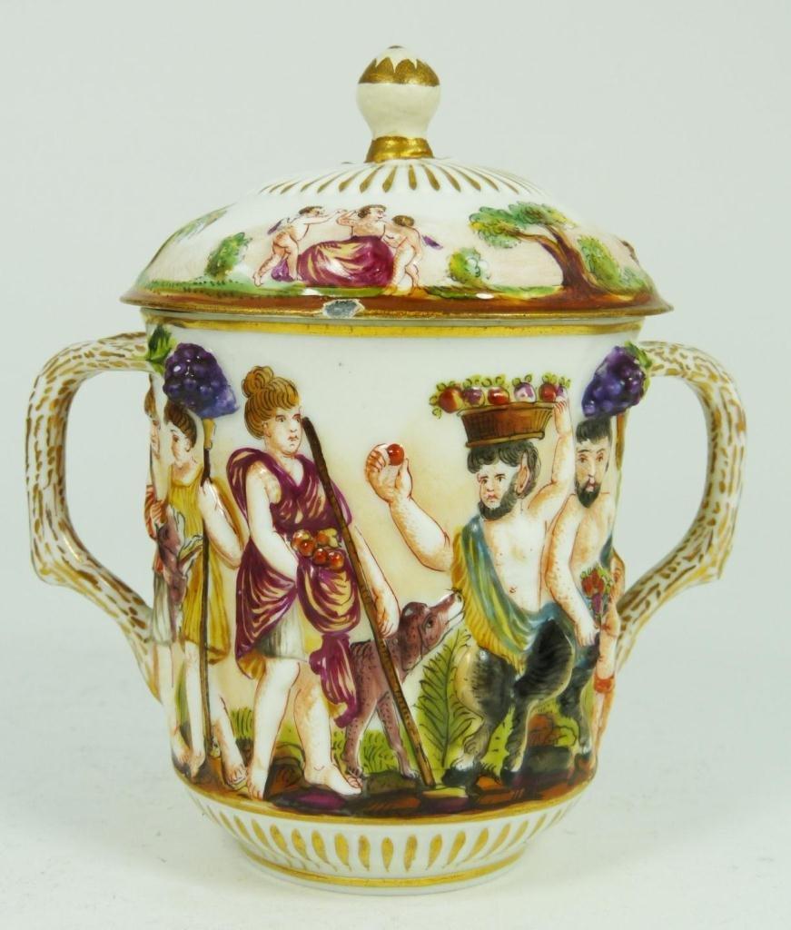 404: CAPODIMONTE PORCELAIN LIDDED CUP w BRANCH HANDLES