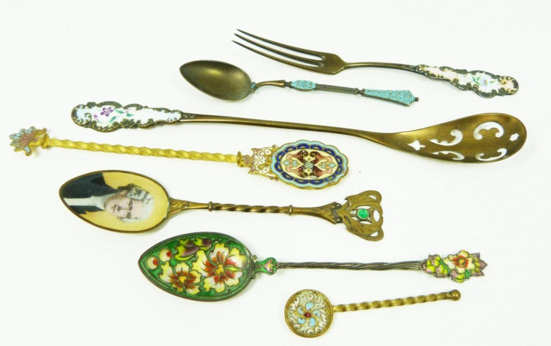 412: LOT OF 7 ENAMELED SILVER SPOONS AND FORKS