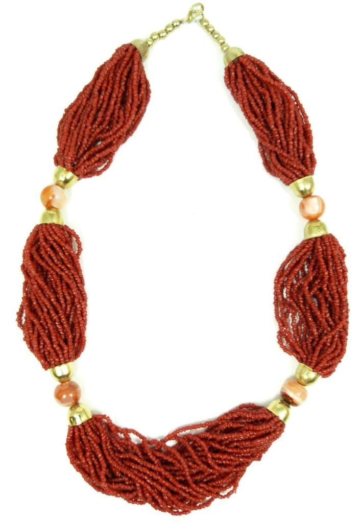415: ETHNIC CORAL BEADED NECKLACE