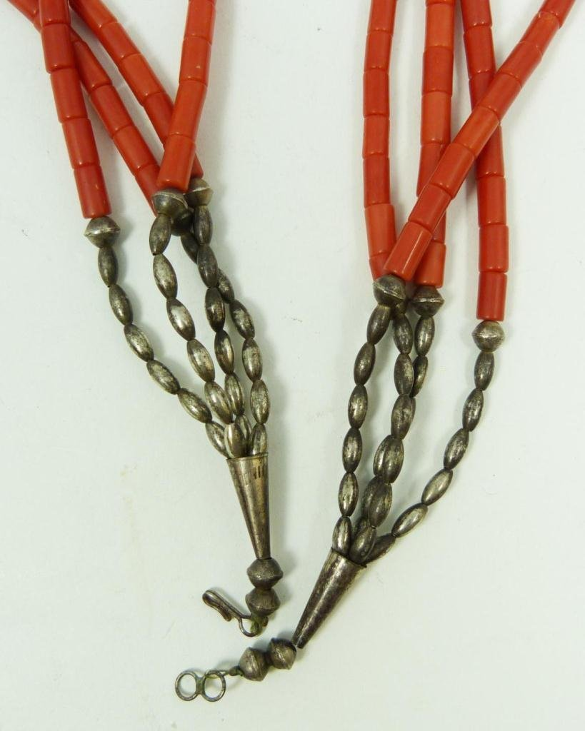 416: SOUTHWESTERN CORAL & SILVER BEADED NECKLACE - 2