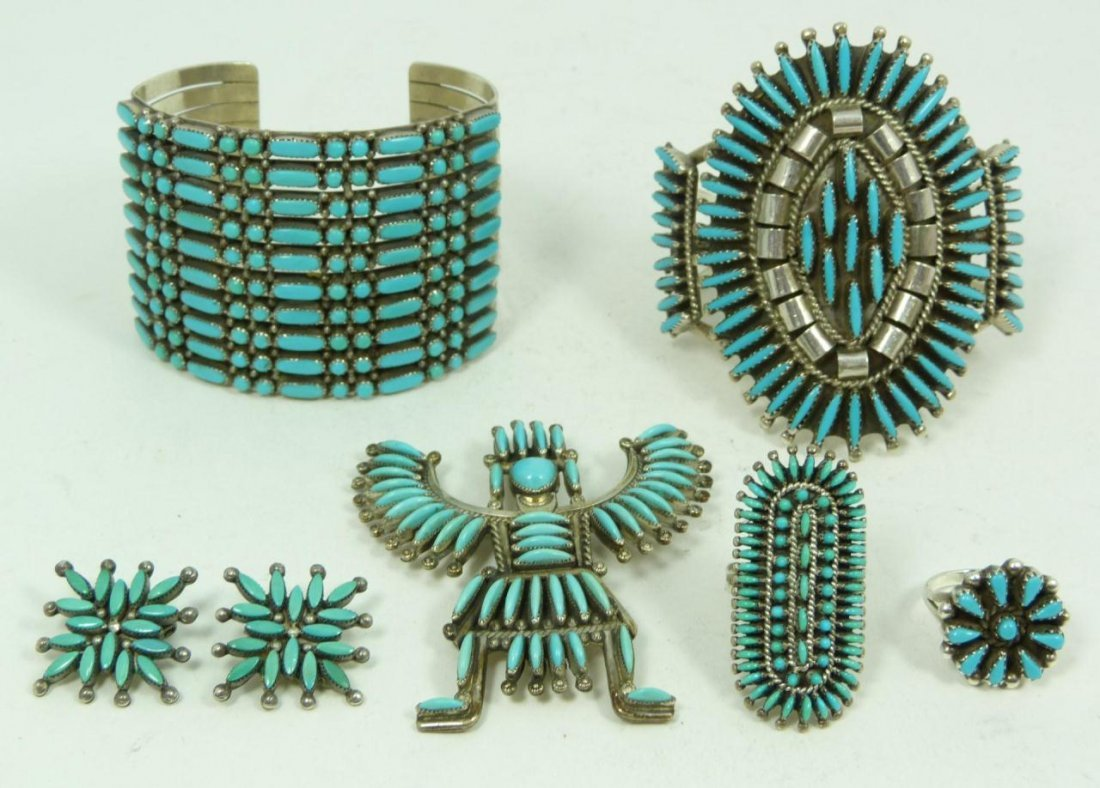 420: 7pcs SIGNED ZUNI STERLING & TURQUOISE JEWELRY