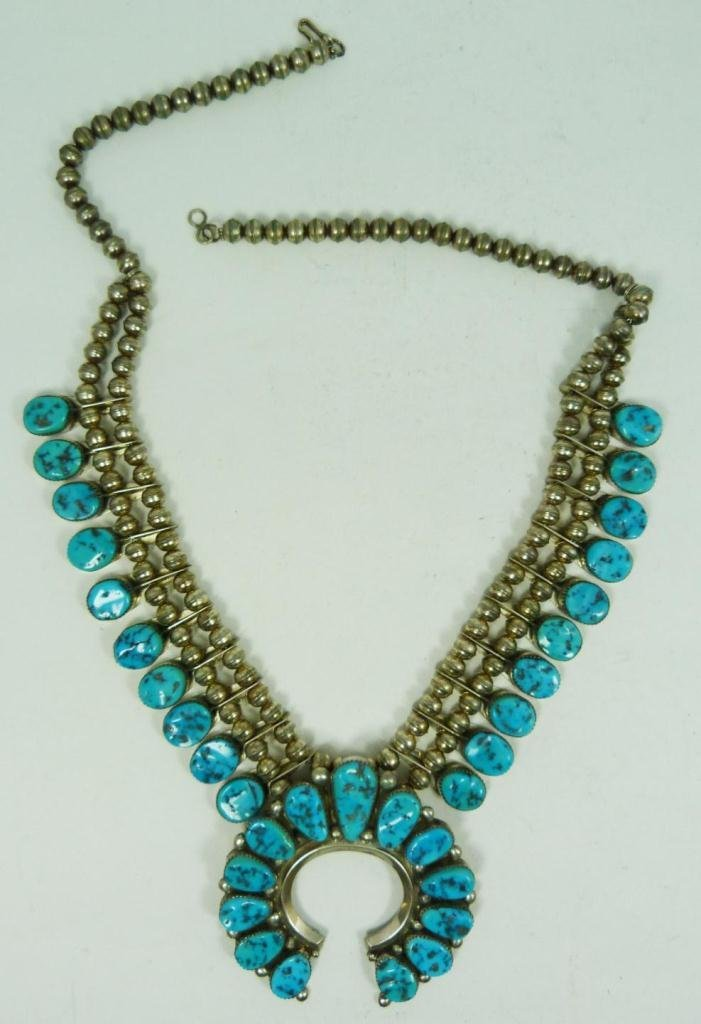 421: STERLING & TURQUOISE SQUASH BLOSSOM NECKLACE