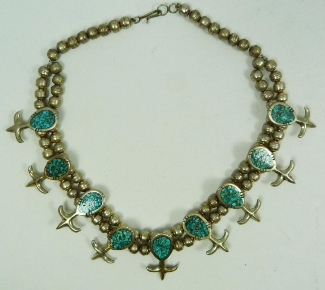 423: SILVER & TURQUOISE SOUTHWESTERN CHOKER NECKLACE