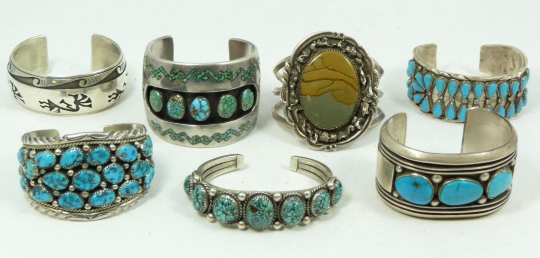 430: 7 OLD PAWN STERLING & TURQUOISE CUFF BRACELETS