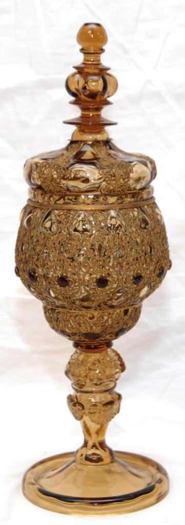1: FRENCH JEWELED OVERLAY AMBER GLASS LIDDED GOBLET