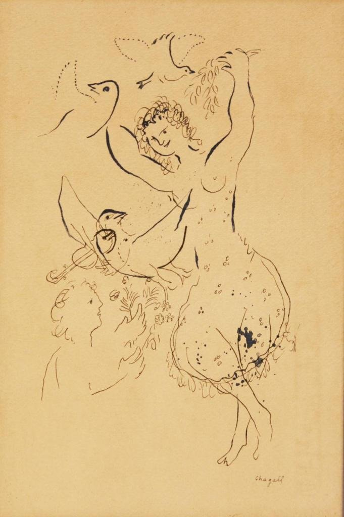 95: MARC CHAGALL INK ON PAPER OF DANCER & DOVES SIGNED
