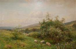252 JOHN BATES NOEL OIL CANVAS OF SHEEP GRAZING