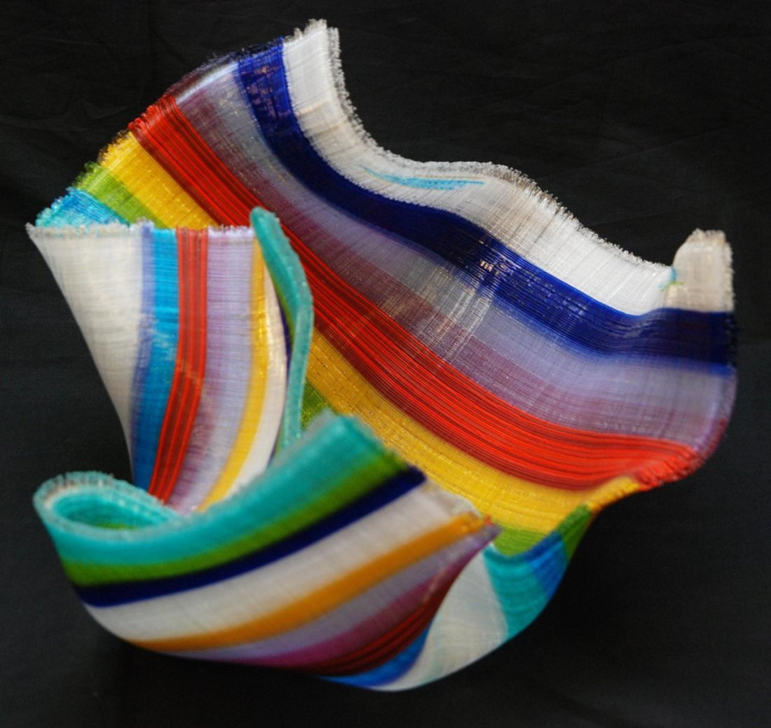 3: CAROLE PERRY FUSED GLASS TAPESTRY BOWL