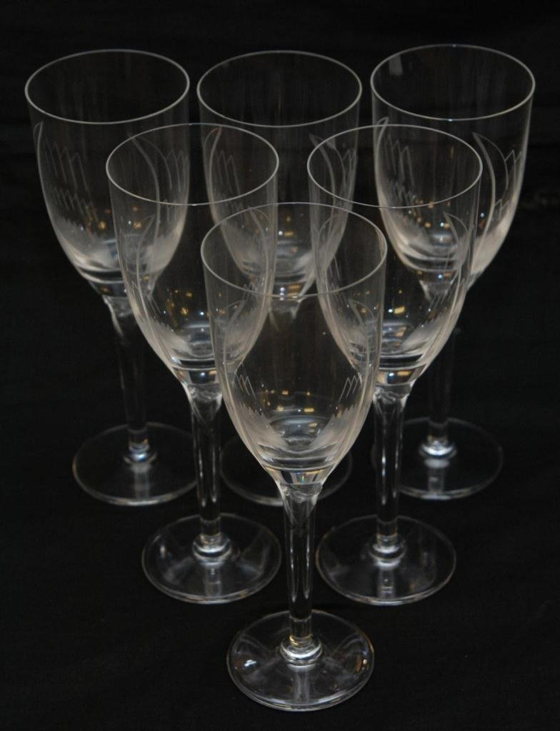 4A: 6 LALIQUE FRANCE CRYSTAL ANGEL CHAMPAGNE GLASSES