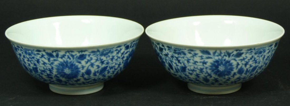 3: Pr OF 18th C CHINESE BLUE & WHITE PORCELAIN BOWLS