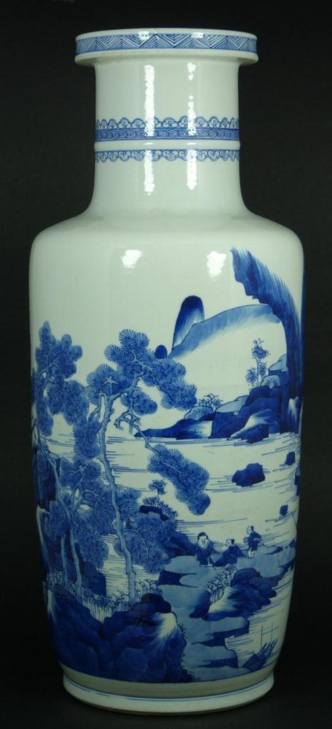 7: 17th/18th C CHINESE BLUE WHITE VILLAGE SCENE VASE