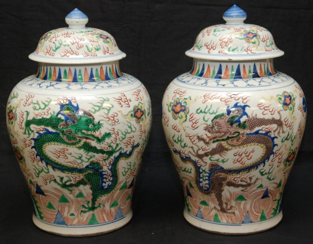 1A: PAIR OF 18th C FAMILLE VERTE WUCAI BALUSTER VASES