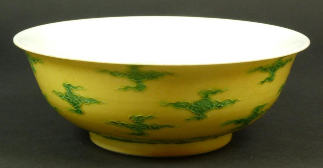 6A: 18th C CHINESE GREEN CLOUD PORCELAIN BOWL