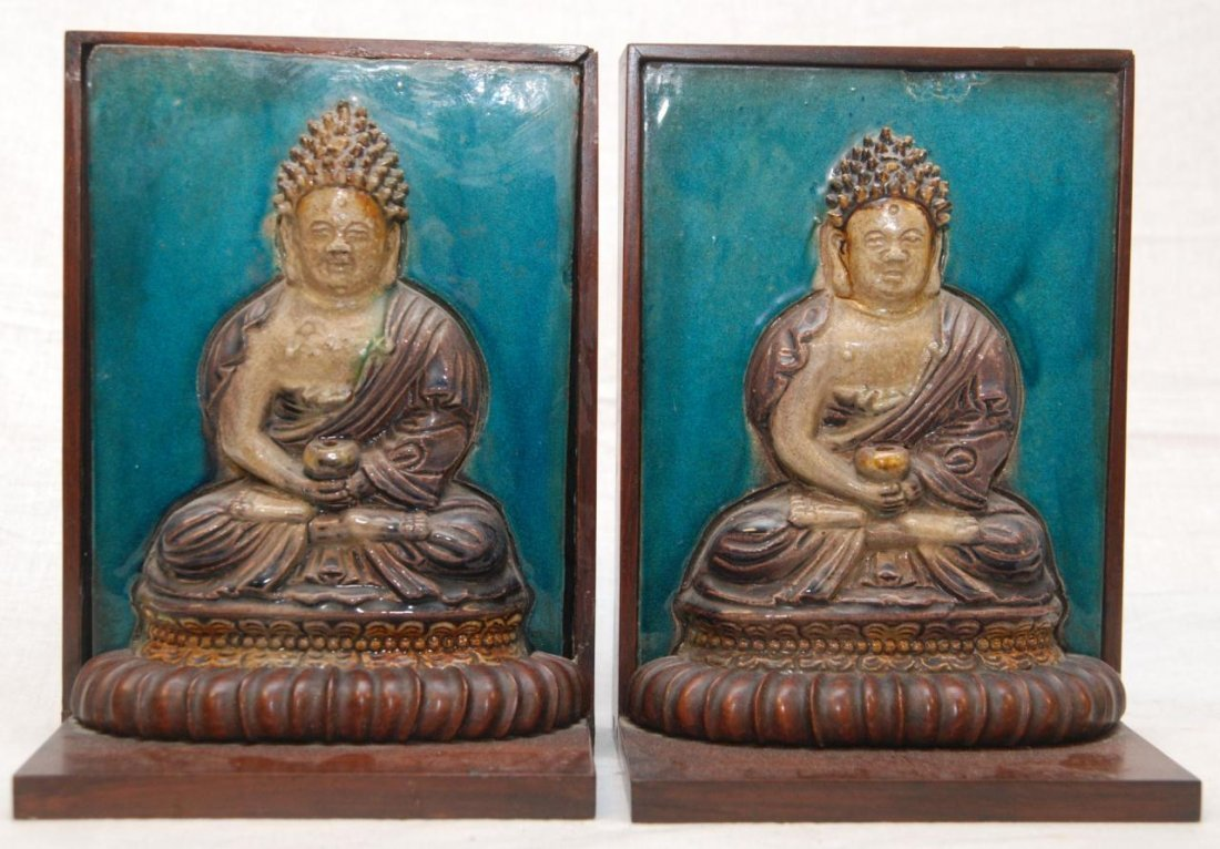403: Pr OF MING BUDDHA TILES FRAMED AS BOOKENDS