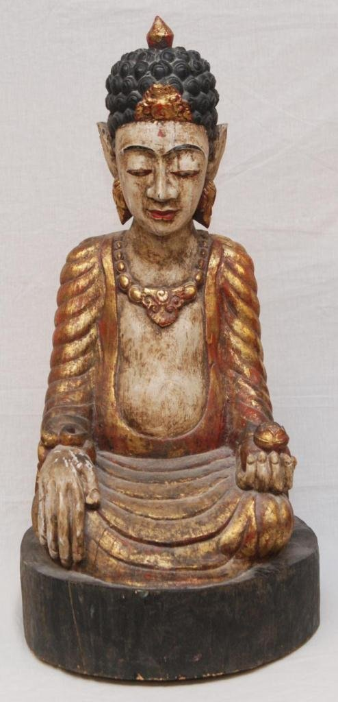 416: 18th C CHINESE GILDED SEATED BUDDHA FIGURE