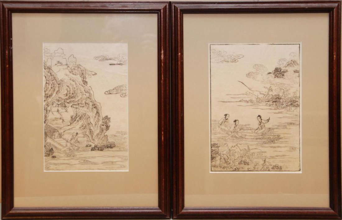 418: PAIR OF CHINESE FRAMED PRINTS ON RICE PAPER
