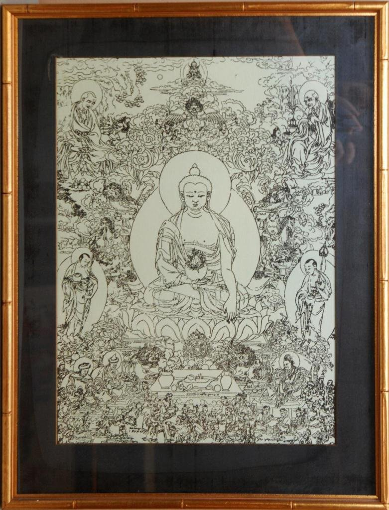 419: CHINESE PRINT ON PAPER OF BUDDHA AND IMMORTALS