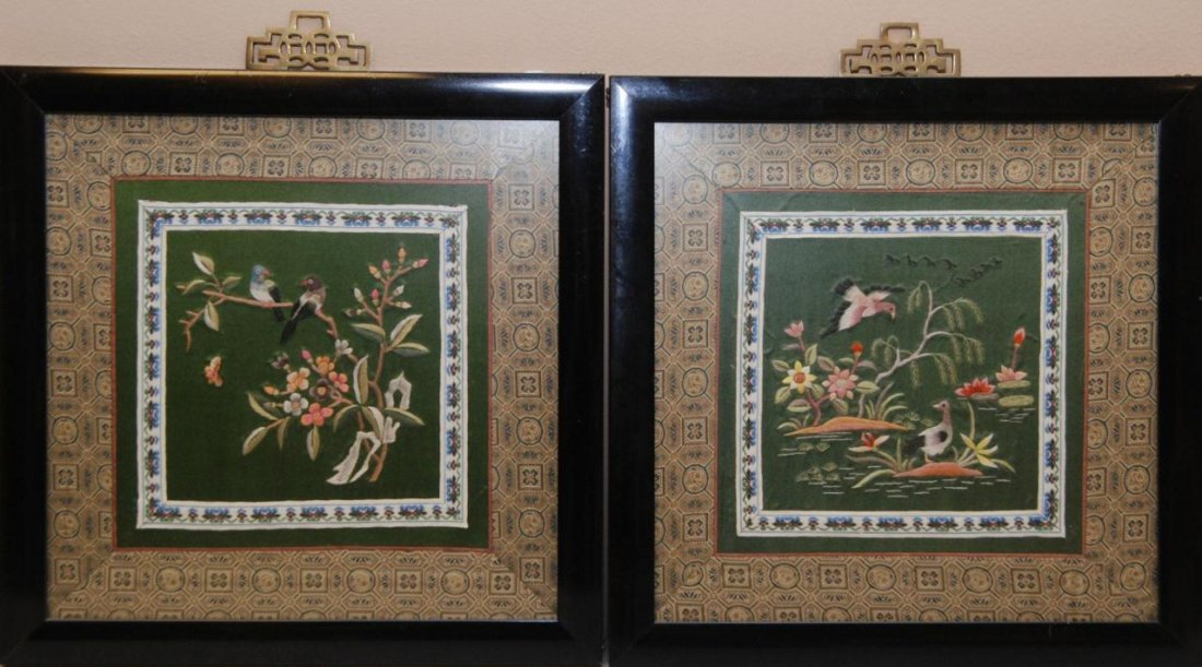 421: 18th C CHINESE FRAMED COURT ROBE SQUARES