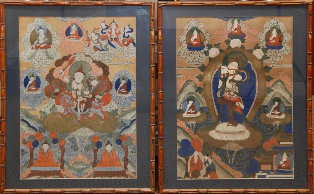 422: TWO 18th CENTURY FRAMED TIBETAN THANGKAS