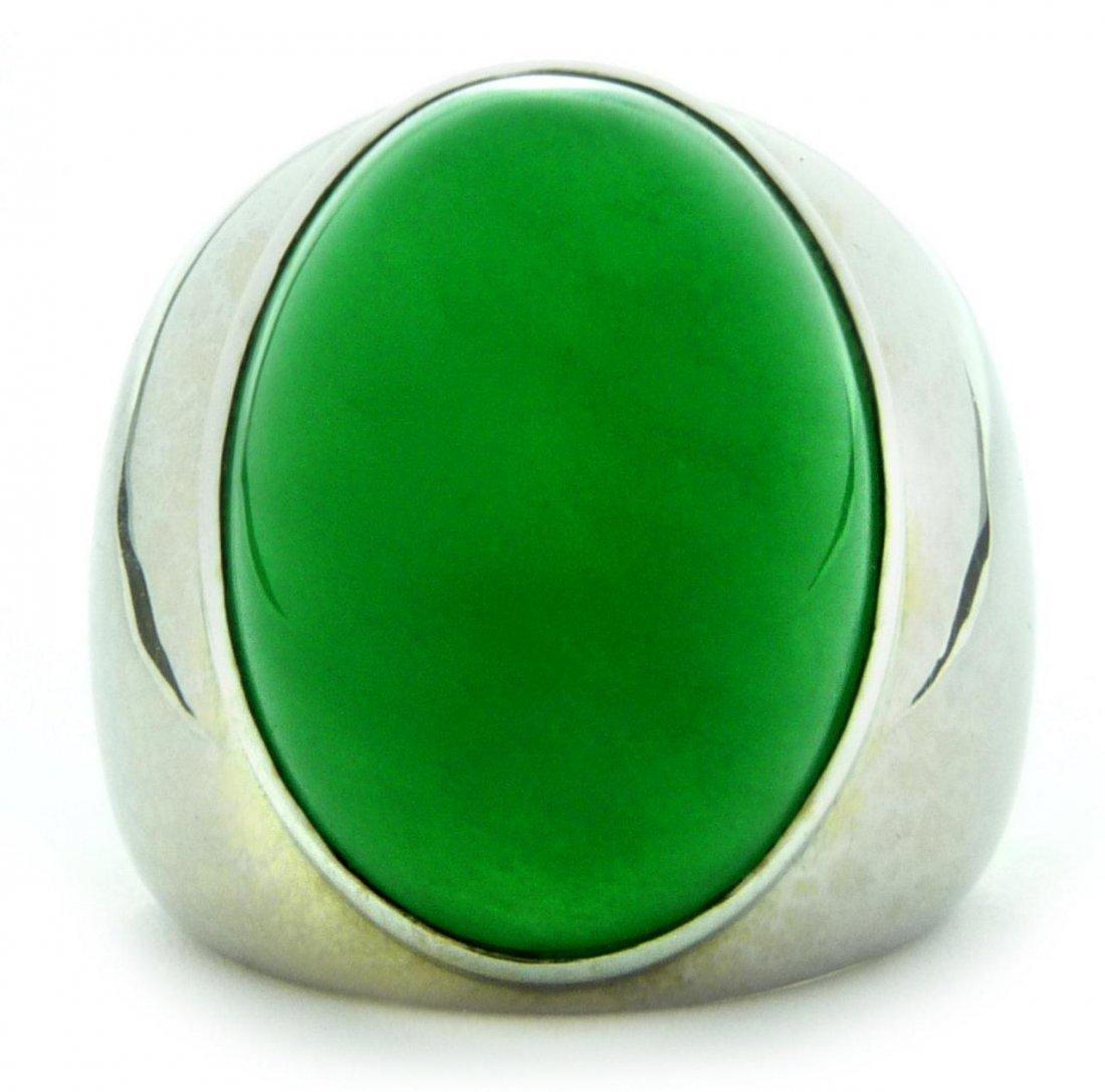 498: 18K WG & EMERALD GREEN NATURAL A JADEITE RING